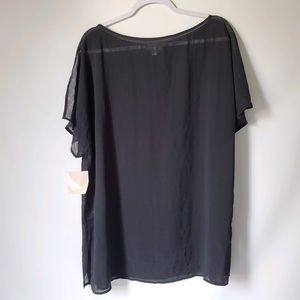 14th and Union Black sheer blouse